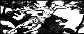wood-engraving original print: The Apple for Daphnis and Chloe